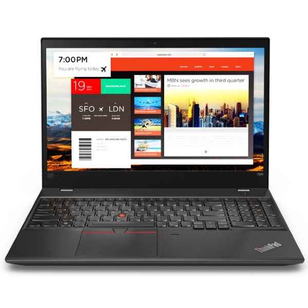 "Ноутбук Lenovo ThinkPad T580 15.6"" FHD [20L90021RT] Core i5-8250U/ 8GB 512GB SSD/ GeForce MX150 2GB/ noODD/ WiFi/ BT/ FPR/ SCR/ Win10Pro изображение 1"